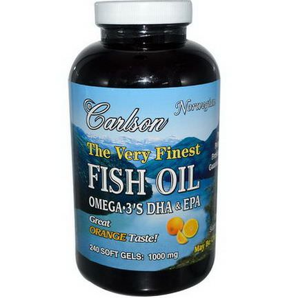 Carlson Labs, The Very Finest Fish Oil, 1000mg, Orange, 240 Softgels