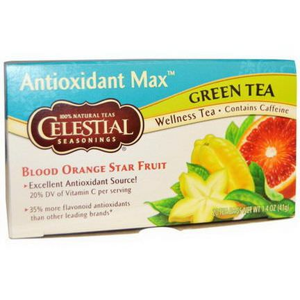 Celestial Seasonings, Antioxidant Max, Green Tea, Blood Orange Star Fruit, 20 Tea Bags 41g