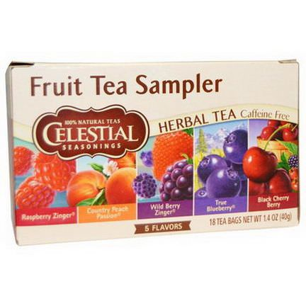 Celestial Seasonings, Fruit Tea Sampler, Herbal Tea, Caffeine Free, 5 Flavors, 18 Tea Bags 40g