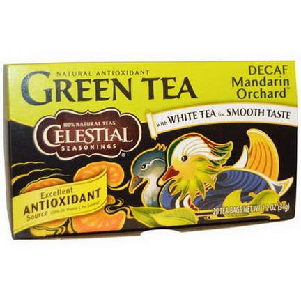 Celestial Seasonings, Green Tea, Decaf, Mandarin Orchard, 20 Tea Bags 34g