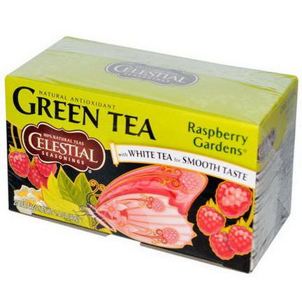 Celestial Seasonings, Green Tea with White Tea, Raspberry Gardens, 20 Tea Bags 40g