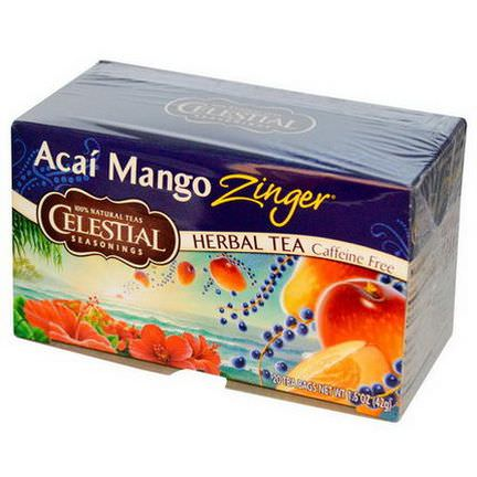 Celestial Seasonings, Herbal Tea, Caffeine Free, Acai Mango Zinger, 20 Tea Bags 42g