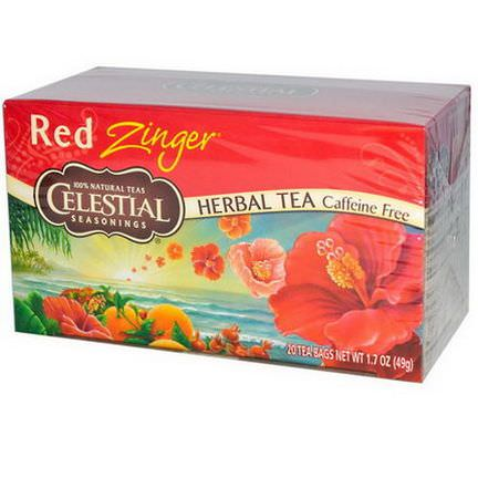 Celestial Seasonings, Herbal Tea, Caffeine Free, Red Zinger, 20 Tea Bags 49g