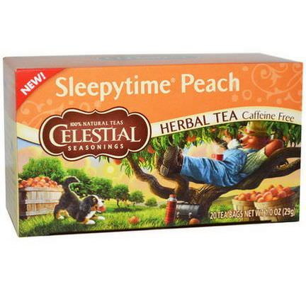 Celestial Seasonings, Herbal Tea, Caffeine Free, Sleepytime Peach, 20 Tea Bags 29g