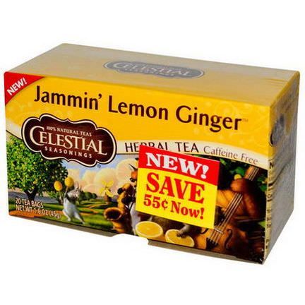 Celestial Seasonings, Herbal Tea, Jammin'Lemon Ginger, Caffeine Free, 20 Tea Bags 45g