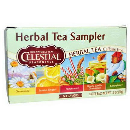 Celestial Seasonings, Herbal Tea Sampler, Caffeine Free, 5 Flavors, 18 Tea Bags 30g