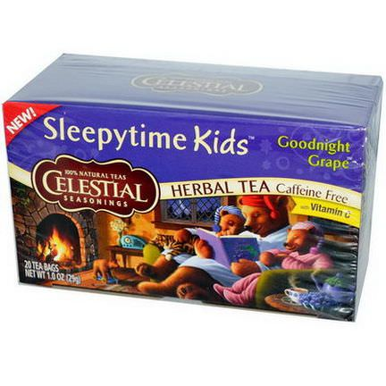 Celestial Seasonings, Herbal Tea, Sleepytime Kids, Caffeine Free, Goodnight Grape, 20 Tea Bags 29g