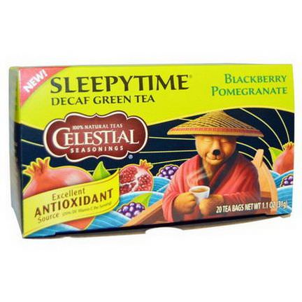 Celestial Seasonings, Sleepytime, Decaf Green Tea, Blackberry Pomegranate, 20 Tea Bags 31g