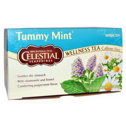 Celestial Seasonings, Tummy Mint Herbal Tea, Caffeine Free, 20 Tea Bags 37g