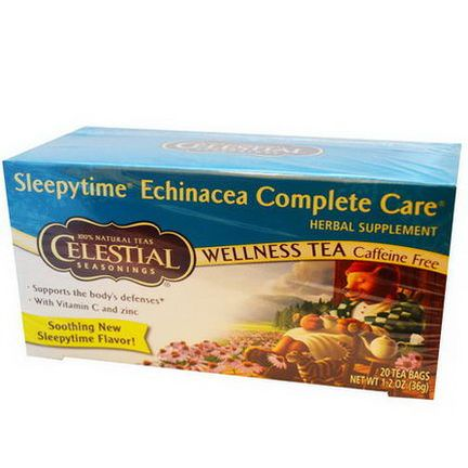 Celestial Seasonings, Wellness Tea, Sleepytime Echinacea Complete Care, Caffeine Free, 20 Tea Bags 36g