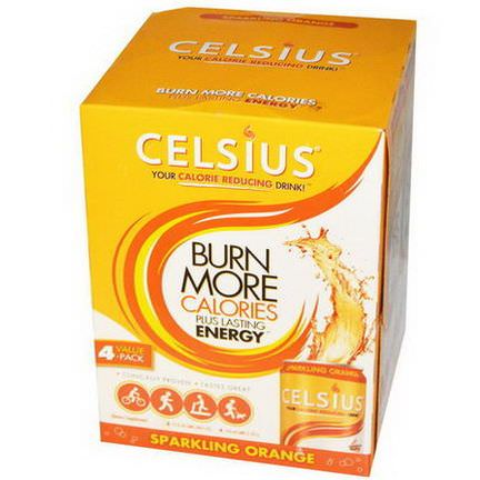 Celsius, Your Calorie Reducing Drink, Sparkling Orange, 4 Pack, 12 fl oz Each