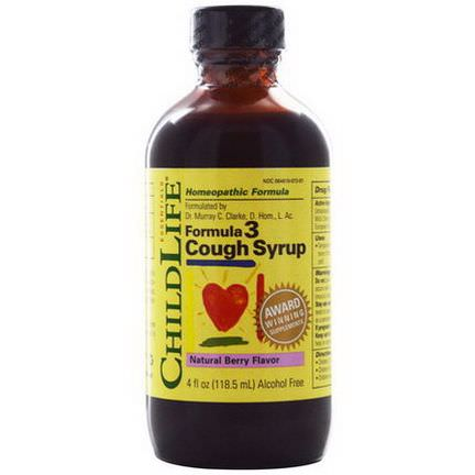ChildLife, Formula 3 Cough Syrup, Alcohol Free, Natural Berry Flavor 118.5ml