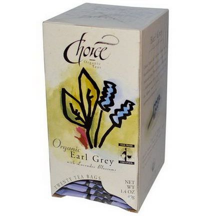 Choice Organic Teas, Earl Grey, with Lavender Blossoms, 20 Tea Bags 40g