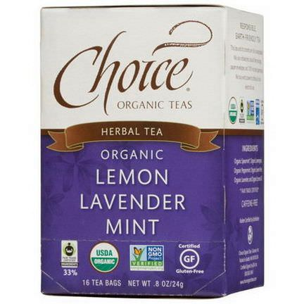 Choice Organic Teas, Herbal Tea, Organic, Lemon Lavender Mint, Caffeine-Free, 16 Tea Bags 24g