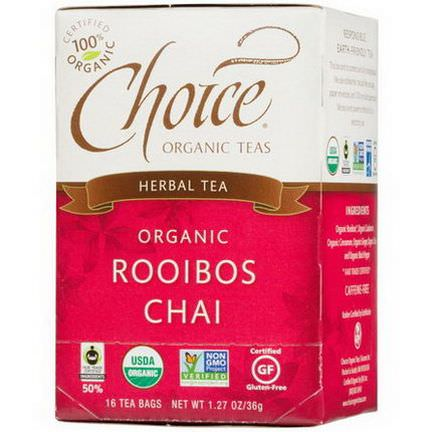 Choice Organic Teas, Herbal Tea, Organic, Rooibos Chai, Caffeine-Free, 16 Tea Bags 36g