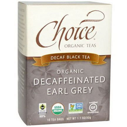 Choice Organic Teas, Organic Decaffeinated Earl Grey, Decaf Black Tea, 16 Tea Bags 32g