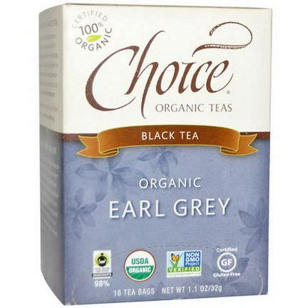 Choice Organic Teas, Organic Earl Grey, Black Tea, 16 Tea Bags 32g