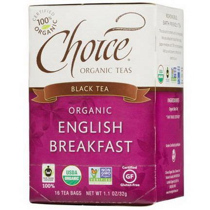 Choice Organic Teas, Organic, English Breakfast, Black Tea, 16 Tea Bags 32g
