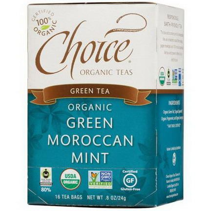 Choice Organic Teas, Organic Green Moroccan Mint, Green Tea, 16 Tea Bags 24g
