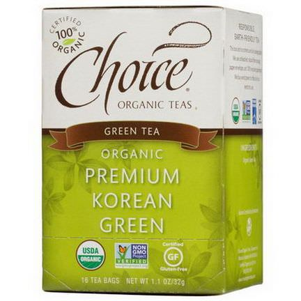 Choice Organic Teas, Organic, Premium Korean Green, Green Tea, 16 Tea Bags 32g