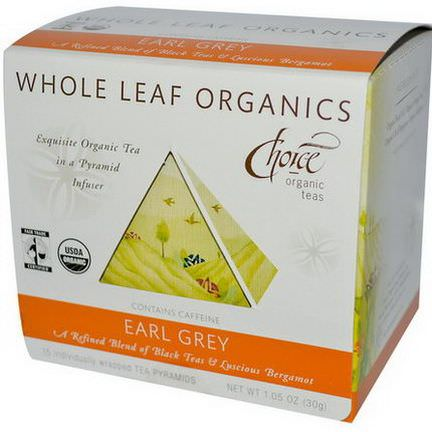 Choice Organic Teas, Whole Leaf Organics, Earl Grey, Caffeinated, 15 Tea Pyramids 30g