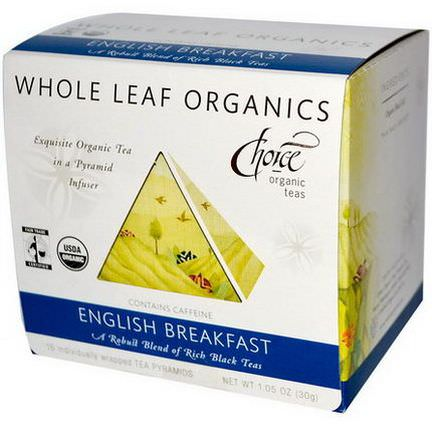 Choice Organic Teas, Whole Leaf Organics, English Breakfast, 15 Tea Pyramids 30g