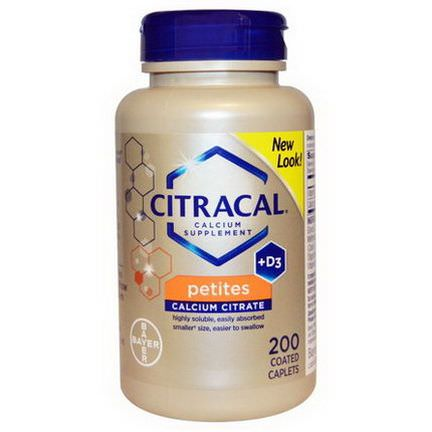 Citracal, Calcium Supplement +D3, Petites, 200 Coated Caplets