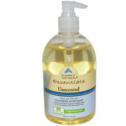 Clearly Natural, Essentials, Glycerine Hand Soap, Unscented 354ml