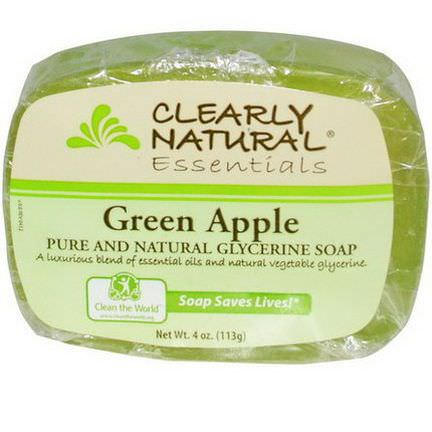 Clearly Natural, Essentials, Pure and Natural Glycerine Soap, Green Apple 113g