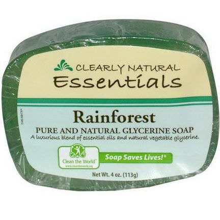 Clearly Natural, Essentials, Pure and Natural Glycerine Soap, Rainforest 113g