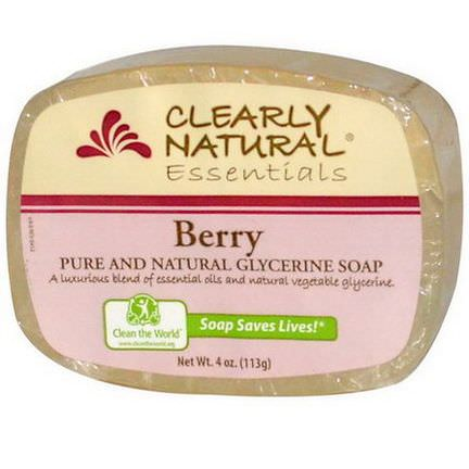 Clearly Natural, Glycerine Soap Bar, Berry 113g