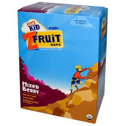 Clif Bar, Clif Kid, Organic, ZFruit Rope, Mixed Berry, 18 Pieces 20g Per Piece