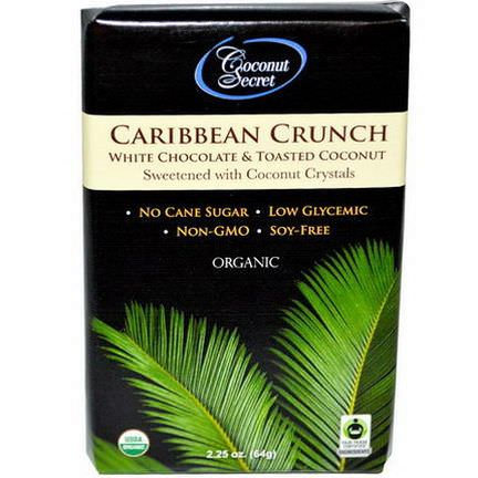 Coconut Secret, Organic Caribbean Crunch, White Chocolate&Toasted Coconut 64g