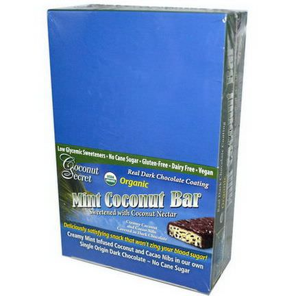 Coconut Secret, Organic, Mint Coconut Bar, 12 Bars 50g Each