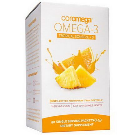 Coromega, Omega-3 Tropical Squeeze D, 650mg, 90 Single Serving Packets 2.5g Each