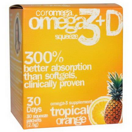 Coromega, Omega3+D Squeeze, Tropical Orange, 30 Squeeze Packets, 2.5g Each