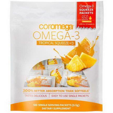 Coromega, Omega-3, Tropical Squeeze D, 120 Single Serving Packets, 2.5g Each