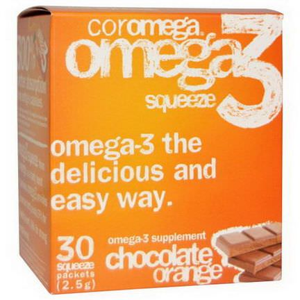 Coromega, Omega3 Squeeze, Chocolate Orange, 30 Squeeze Packets, 2.5g Each