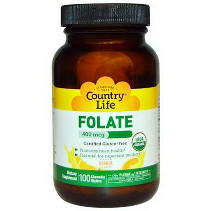 Country Life, Folate, Orange Flavor, 400mcg, 100 Chewable Wafers