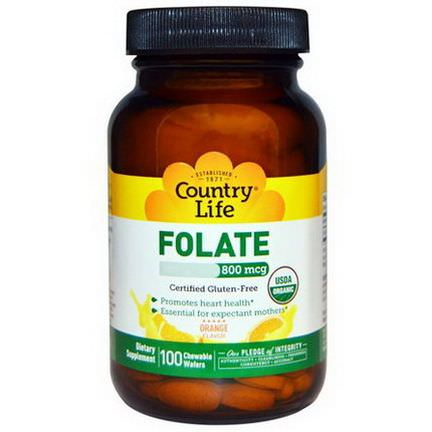 Country Life, Folate, Orange Flavor, 800mcg, 100 Chewable Wafers