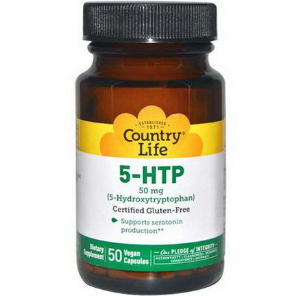 Country Life, 5-HTP, 50mg, 50 Vegan Caps