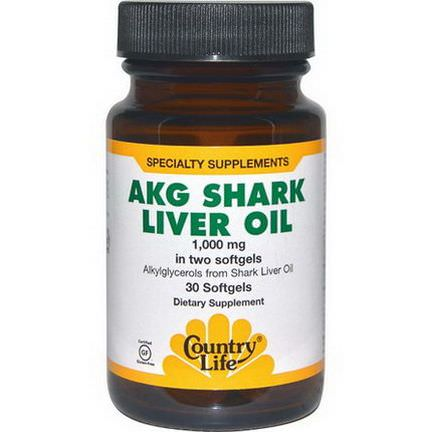 Country Life, AKG Shark Liver Oil, 1000mg, 30 Softgels