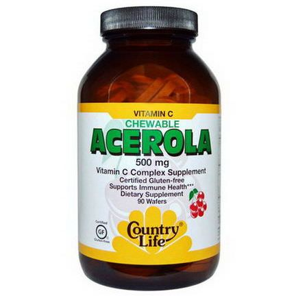 Country Life, Acerola, Vitamin C Chewable, Cherry, 500mg, 90 Wafers