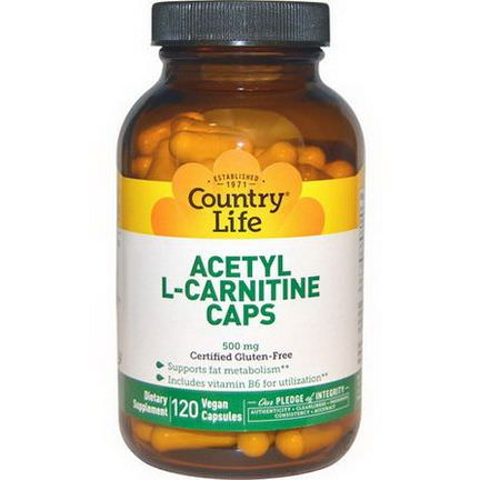 Country Life, Acetyl L-Carnitine Caps, 500mg, 120 Veggie Caps