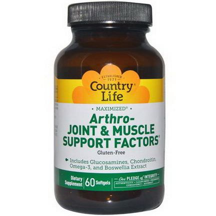 Country Life, Arthro - Joint&Muscle Support Factors, 60 Softgels