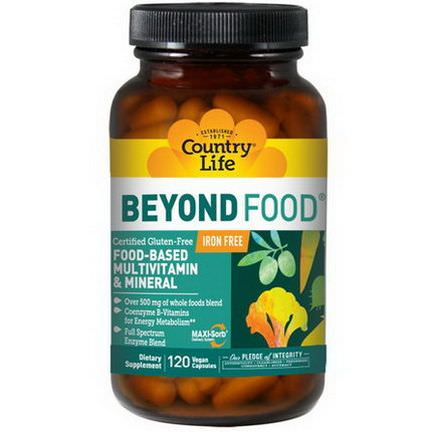 Country Life, Beyond Food, Multivitamin&Mineral, Iron Free, 120 Vegan Caps