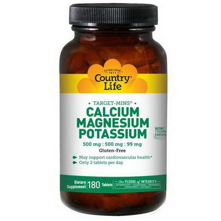 Country Life, Calcium, Magnesium, and Potassium, 500mg : 500mg : 99mg, 180 Tablets