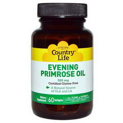 Country Life, Evening Primrose Oil, 500mg, 60 Softgels