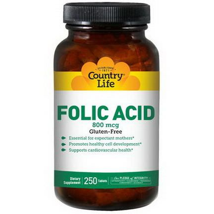 Country Life, Folic Acid, 800mcg, 250 Tablets
