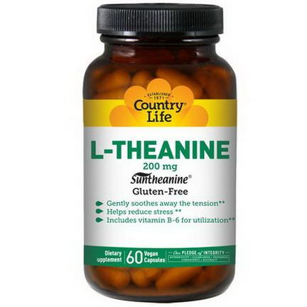 Country Life, L-Theanine, 200mg, 60 Vegan Caps